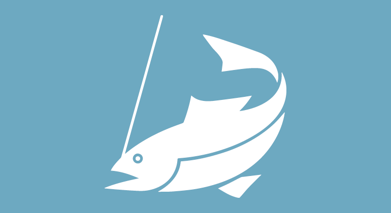 Illustration, symbol för fiskekort