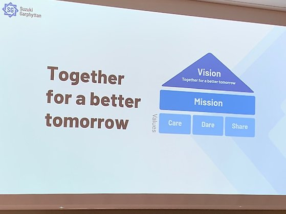 Presentationsbild över Suzuki Garphyttan vision - Toether for a better tomorrow, care, dare, share